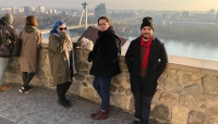 Angie, Iain, and Rui looking out on the Danube from Bratislavský hrad.