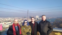 Rui, Angie, Iain, and Philip at the UFO Tower.
